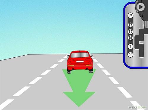Di chuyển cần số đến vị trí R (Reverse), quan sát phía sau và xung quanh, nhẹ nhàng di chuyển chân từ bàn đạp phanh sang bàn đạp ga.